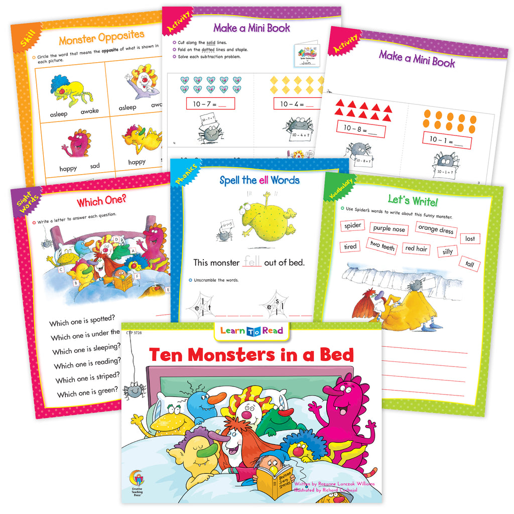 Ten Monsters In a Bed Worksheets