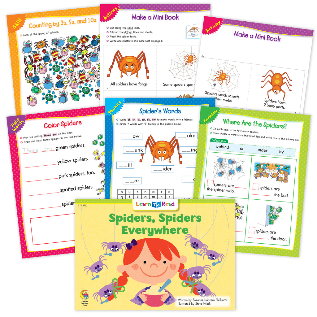 Spiders, Spiders Everywhere Ebook & Worksheets