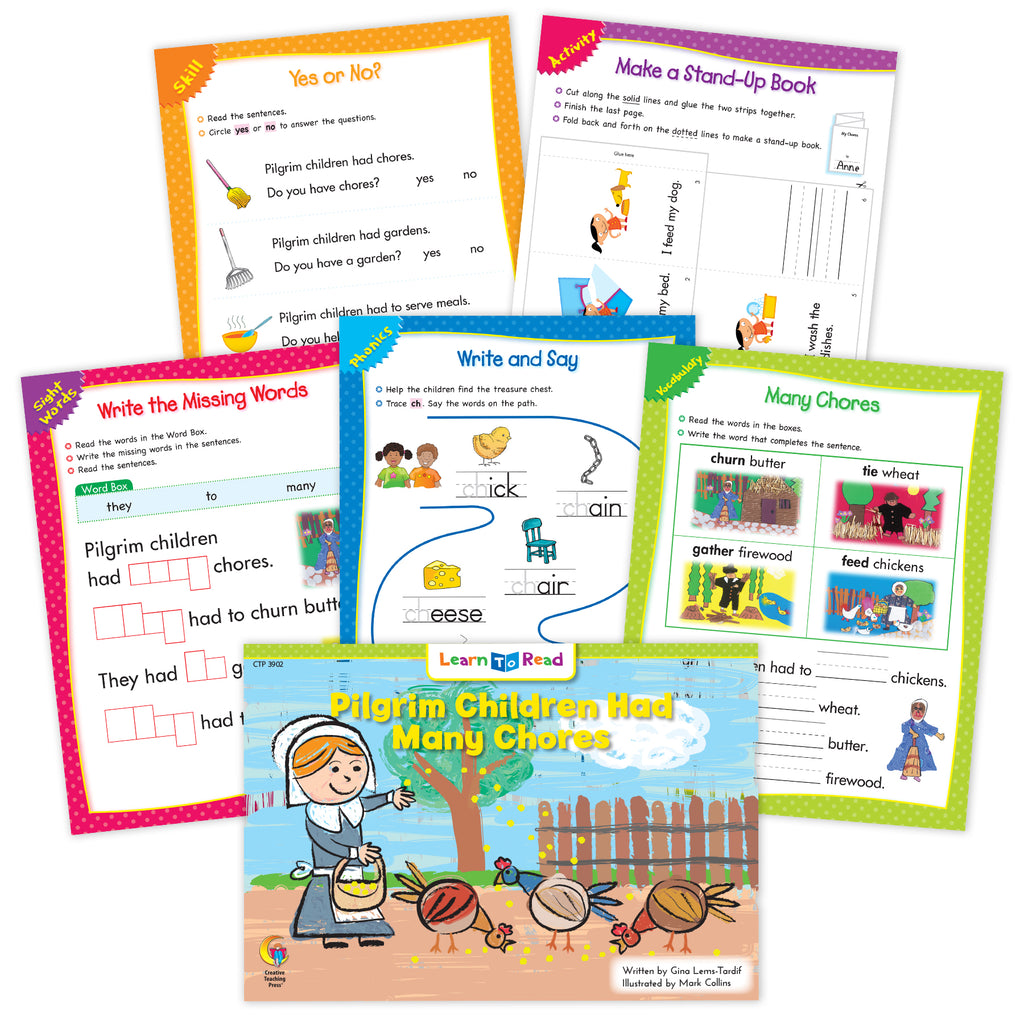 Pilgrim Children Had Many Chores Ebook & Worksheets