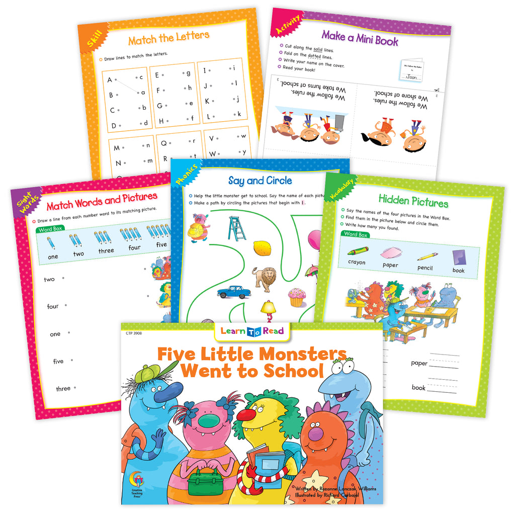 Five Little Monsters Went to School Worksheets