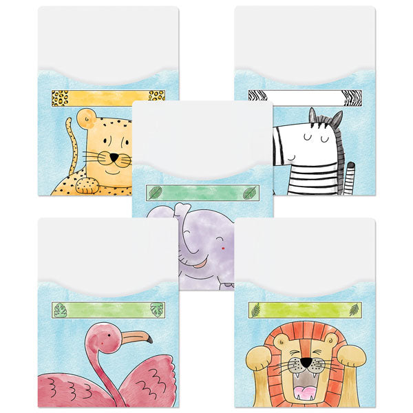 Safari Friends Library Pockets—Extra-Large