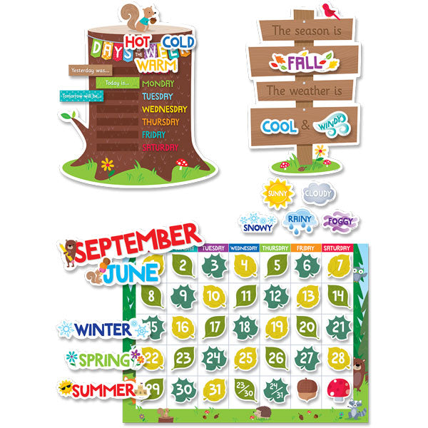 Woodland Friends Calendar Set Bulletin Board