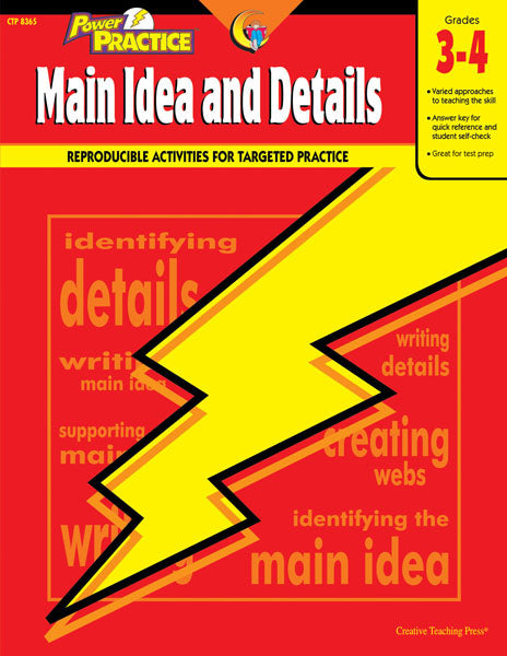 Power Practice: Main Idea and Details, Gr. 3-4, Open eBook