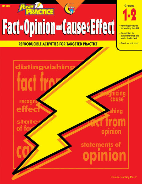 Power Practice: Fact or Opinion and Cause & Effect, Gr. 1-2, Open eBook