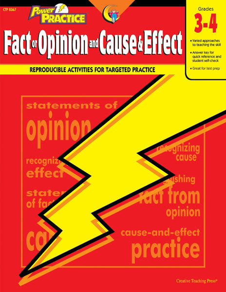 Power Practice: Fact or Opinion and Cause & Effect, Gr. 3-4, Open eBook