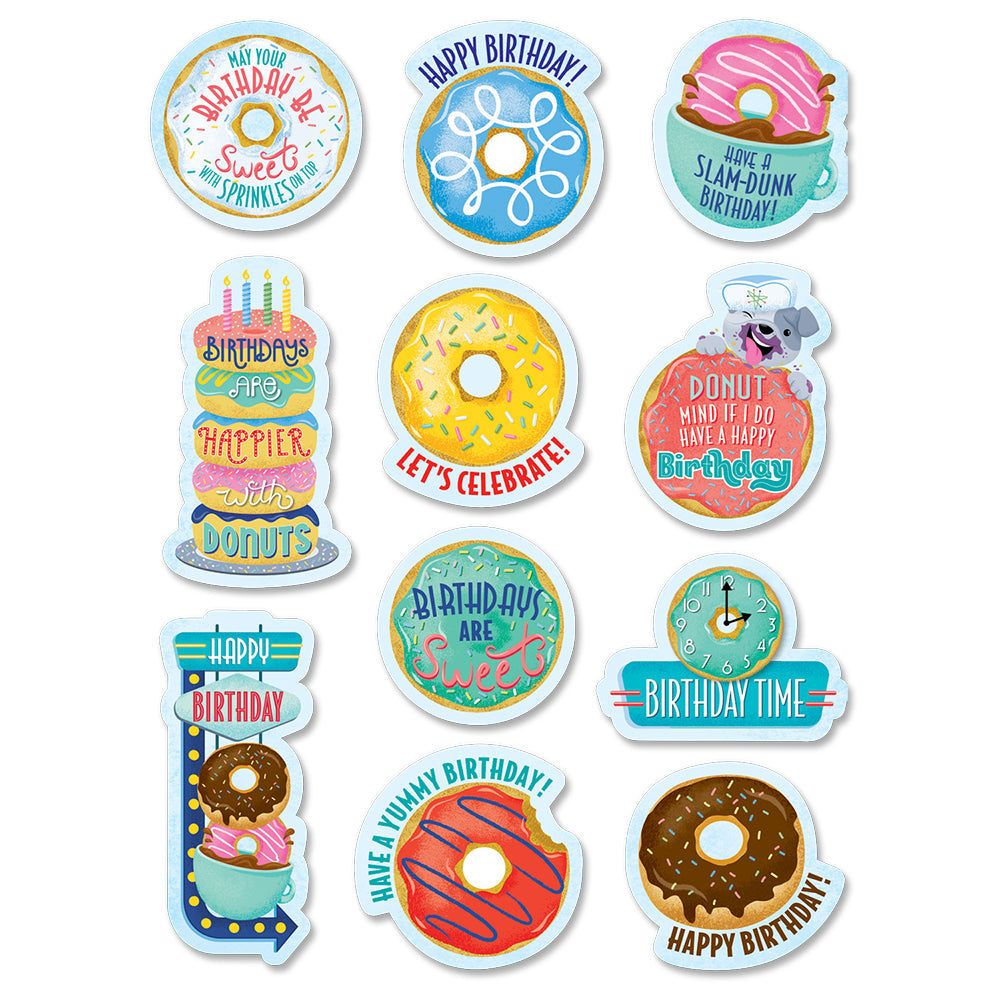 Mid-Century Mod Birthday Donuts Stickers
