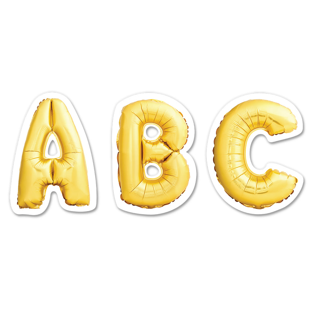 "Gold Mylar Balloon 2"" Uppercase Letter Stickers"