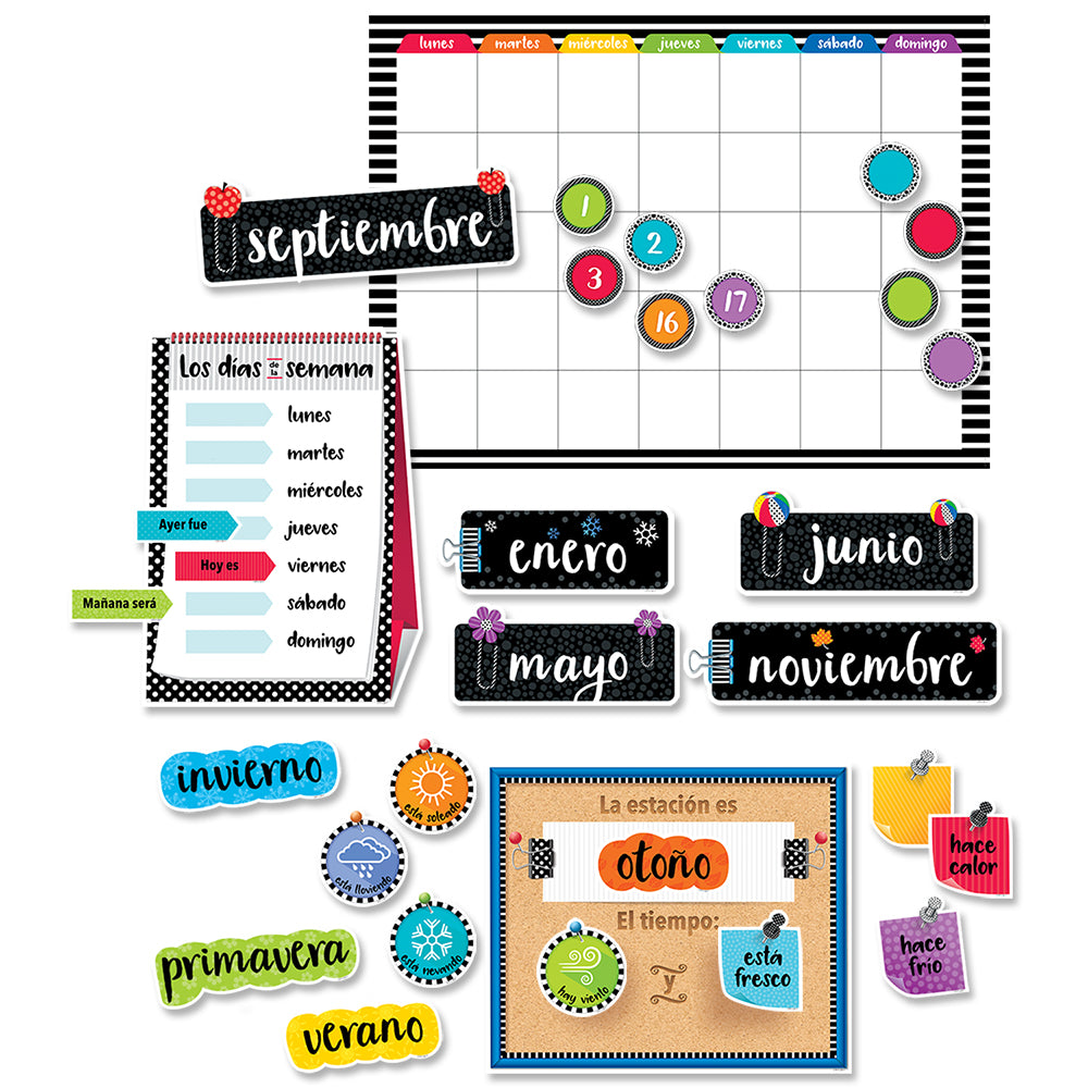 Bold & Bright Spanish Calendar Set Bulletin Board