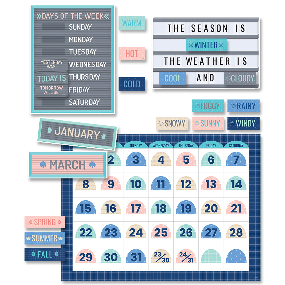 Calm Cool Calendar Set Bulletin Board
