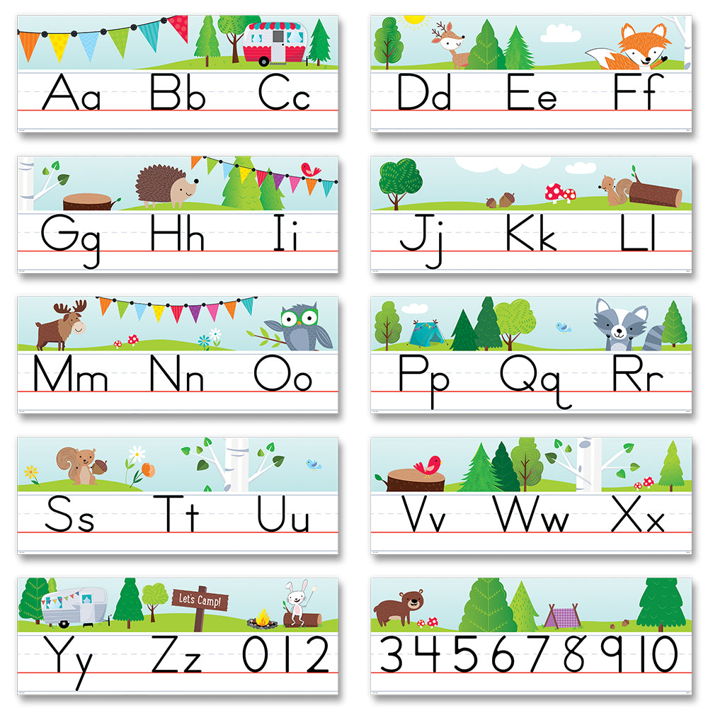 Woodland Friends Traditional Manuscript Alphabet Line Bulletin Board