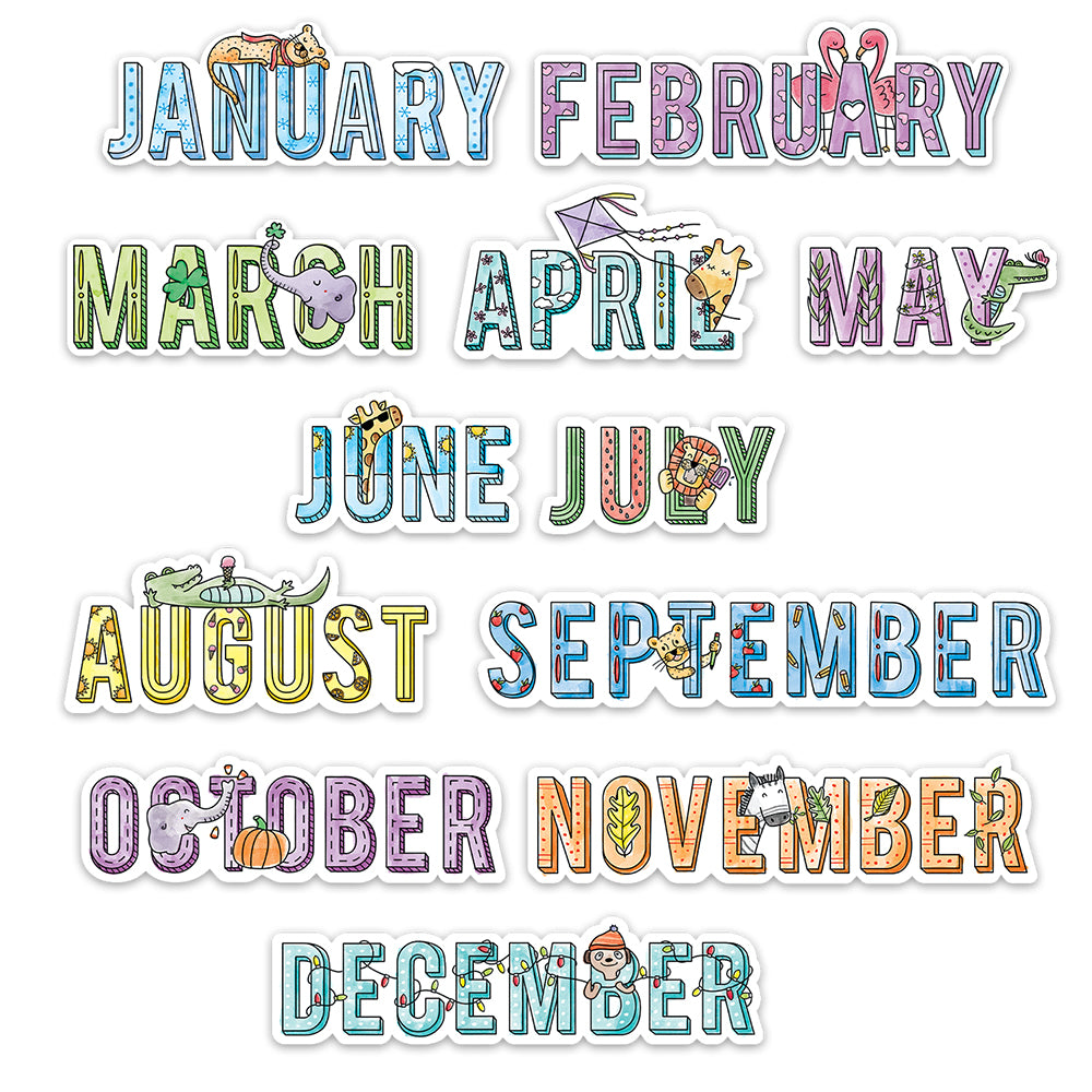 Safari Friends Months of the Year Mini Bulletin Board