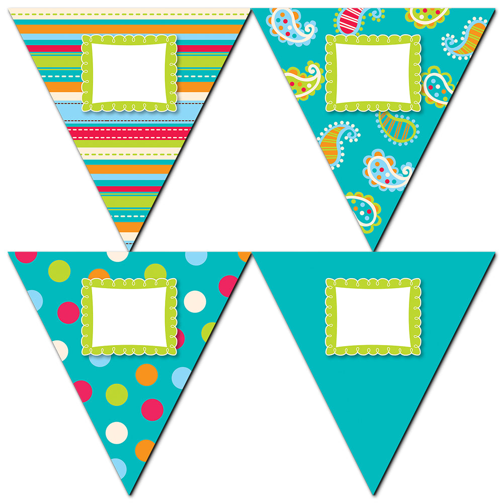 "Dots on Turquoise Pennants 10"" Jumbo Designer Cut-Outs"