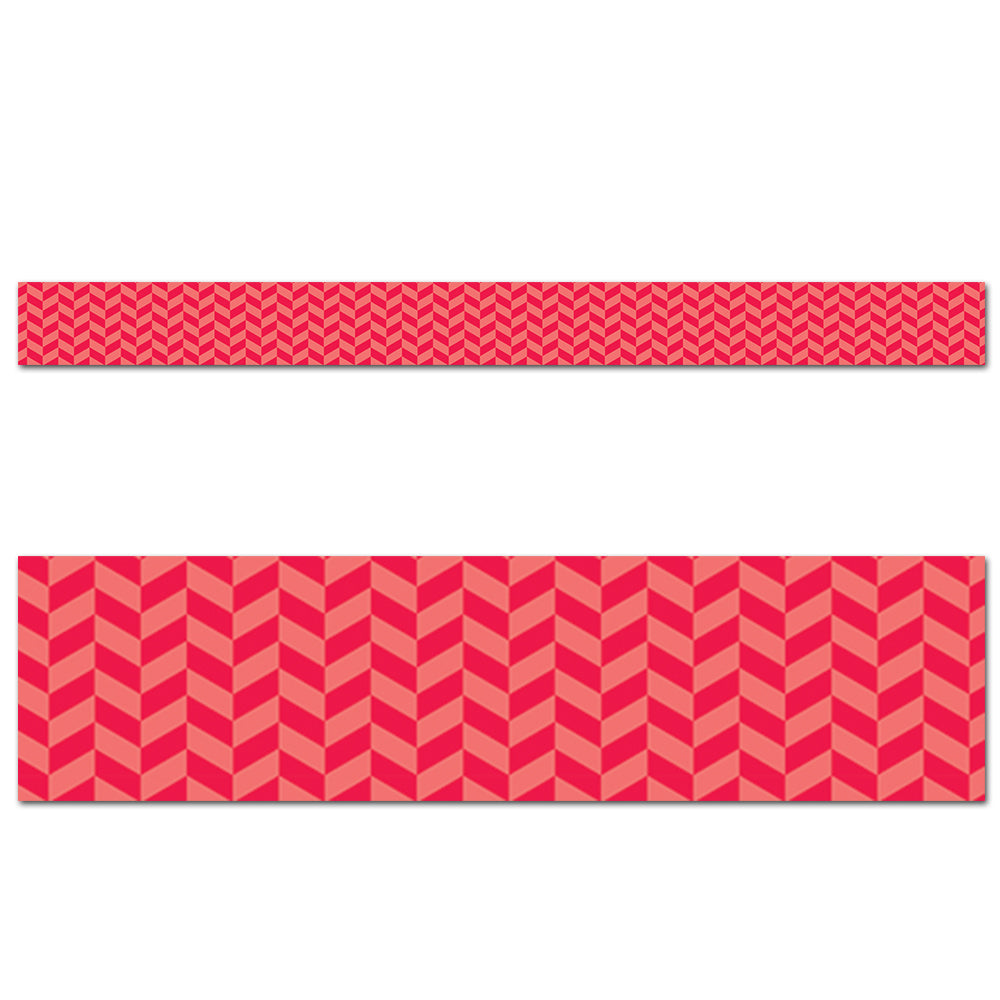 Painted Palette Poppy Red Herringbone Border