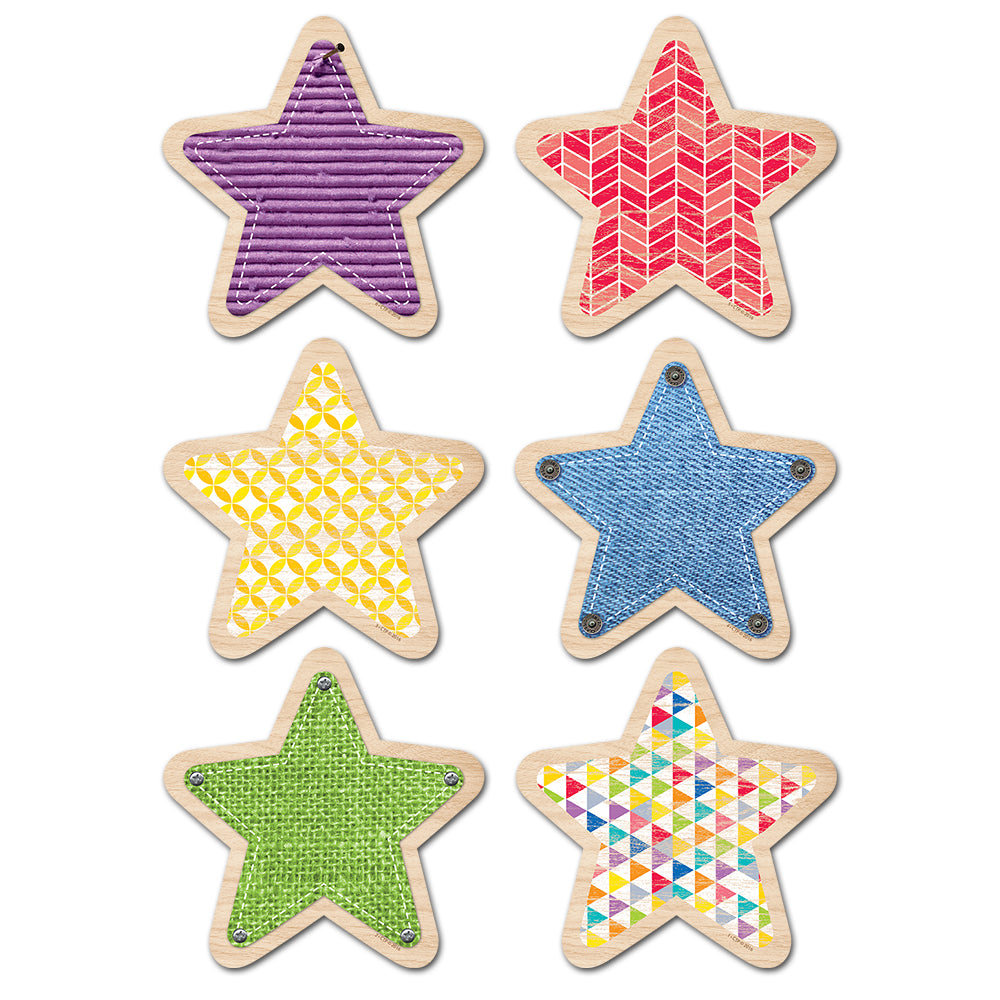 "Upcycle Style Stars 6"" Designer Cut-Outs"