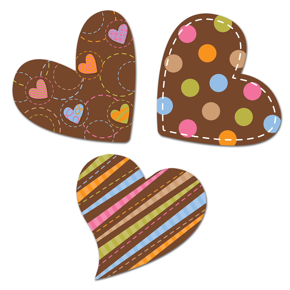 "Dots on Chocolate Hearts 6"" Designer Cut-Outs"