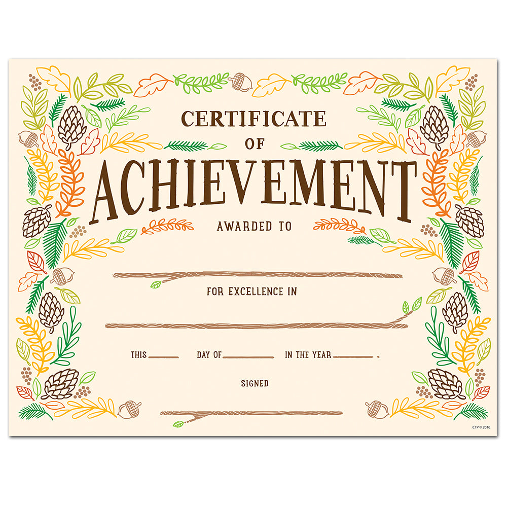 Woodland Friends Certificate of Achievement Large Award
