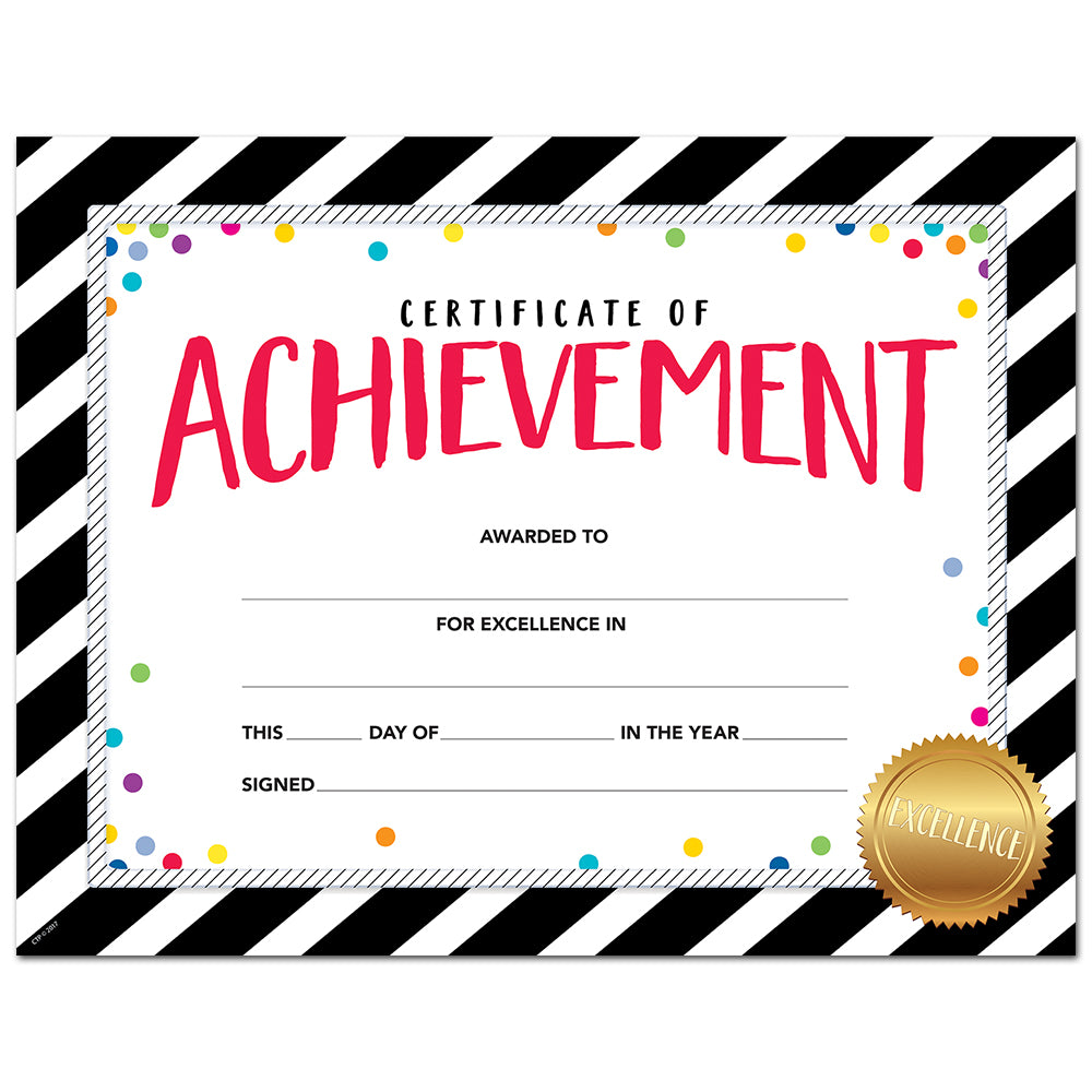 Bold & Bright Certificate of Achievement Large Award