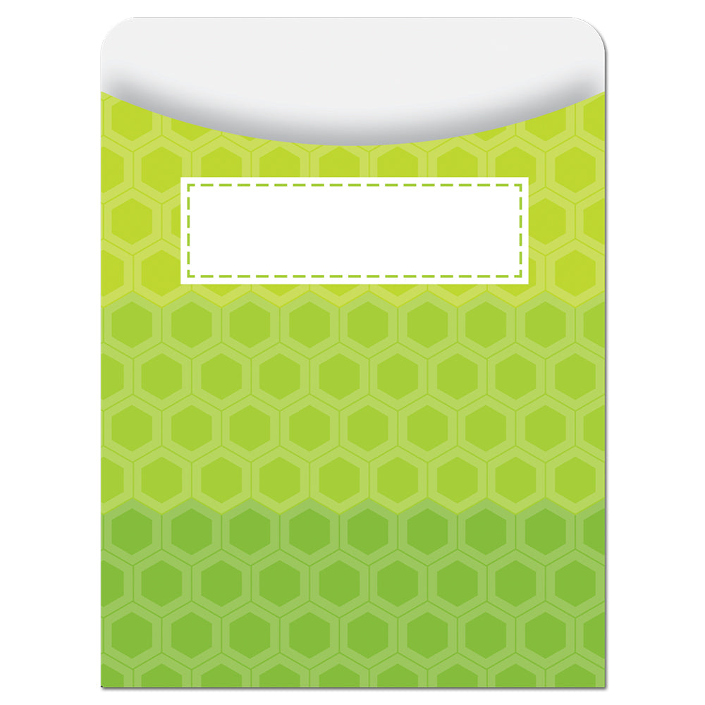 Painted Palette Ombre Lime Green Hexagons Library Pockets - Standard