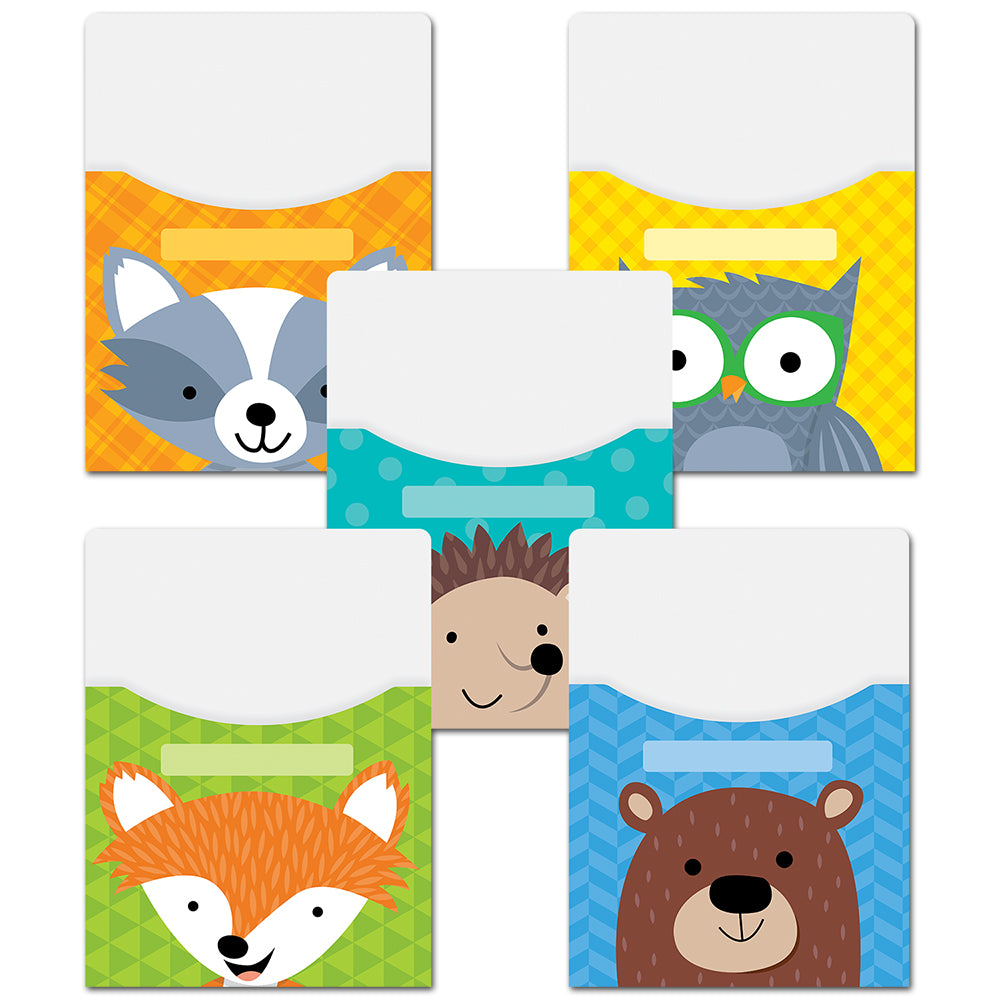 Woodland Friends Library Pockets - Extra Large