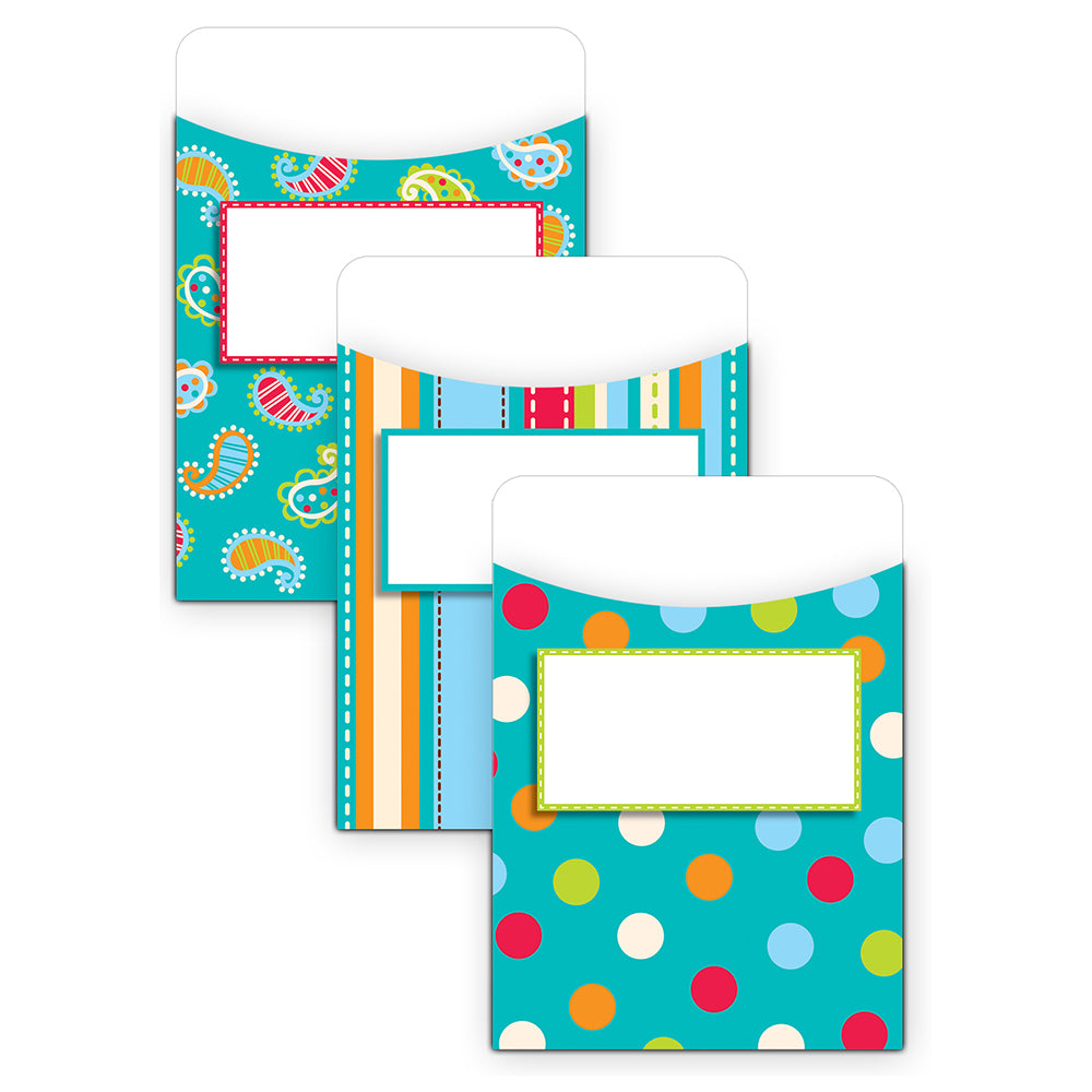 Dots on Turquoise Library Pockets - Jumbo