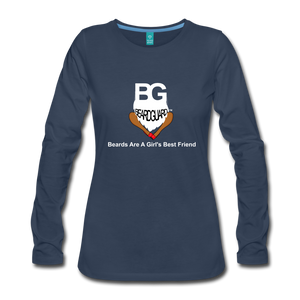 Beards Are A Girl's Best Friend Long Sleeve - navy