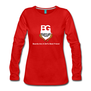 Beards Are A Girl's Best Friend Long Sleeve - red