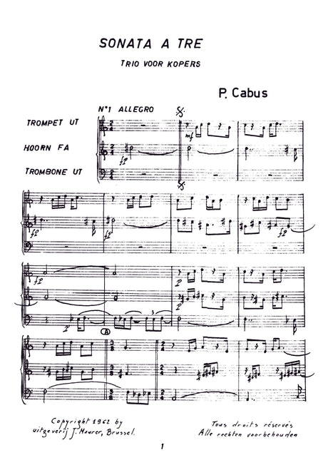 Cabus - Sonata a Tre for Trumpet, Horn and Trombone - BRE0505EJM