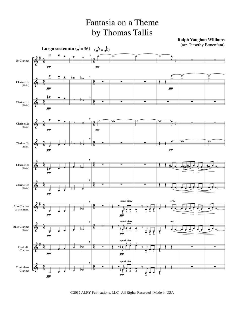 Vaughan Williams Arr Bonenfant Fantasia On A Theme By Thomas Tall United Music And Media Publishers