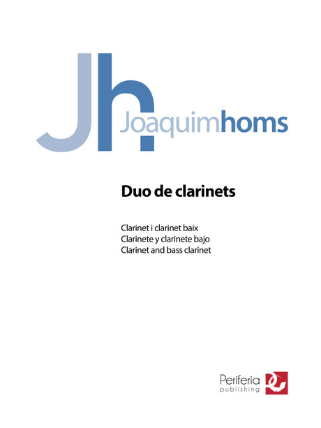 Homs - Duo de Clarinets for Clarinet and Bass Clarinet - CD3492PM