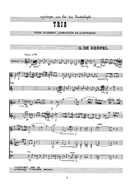 De Kerpel - Trio for Clarinet, Vibraphone and Contrabass - CM1275EJM