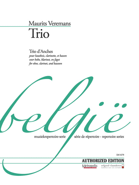 Veremans - Trio for Oboe, Clarinet and Bassoon - CM4278EM