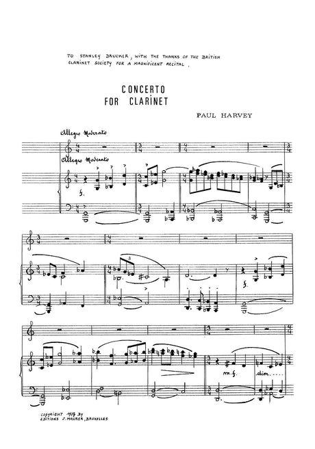 Harvey - Concerto for Clarinet (Piano Reduction) - CP0964EJM
