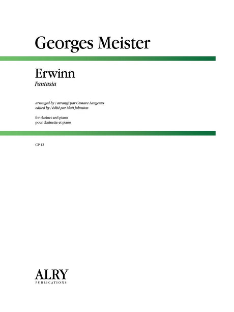 Meister (arr. Langenus/Johnston) - Erwinn Fantasia for Clarinet and Piano - CP12