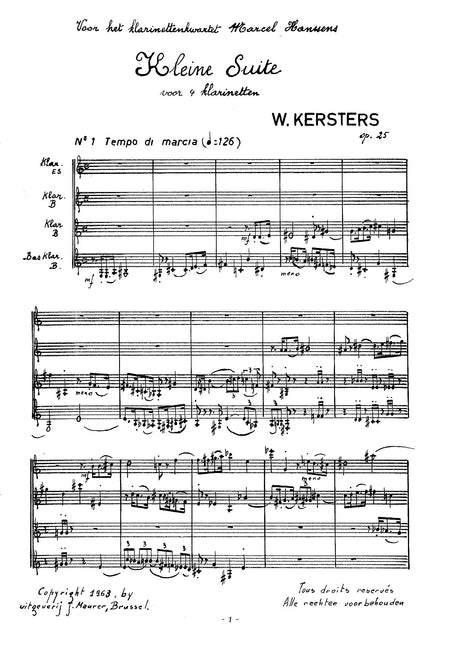Kersters - Kleine Suite for Clarinet Quartet - CQ0559EJM
