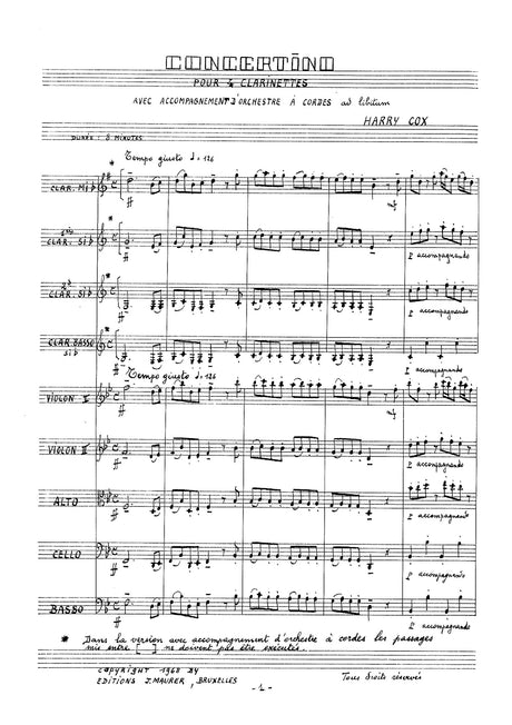Cox - Concertino for Clarinet Quartet and String Orchestra - CQ0751EJM