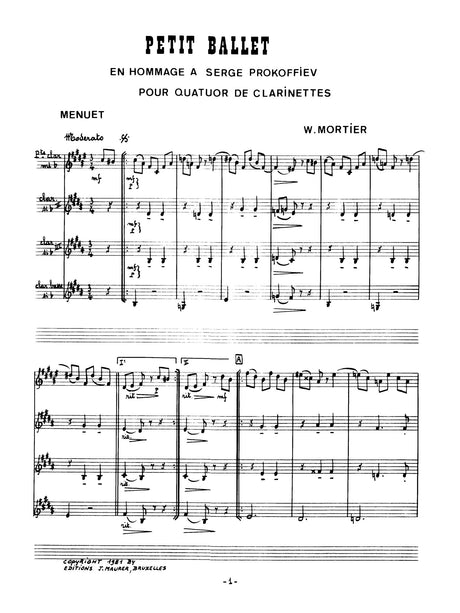 Mortier - Petit Ballet for Clarinet Quartet - CQ1131EJM