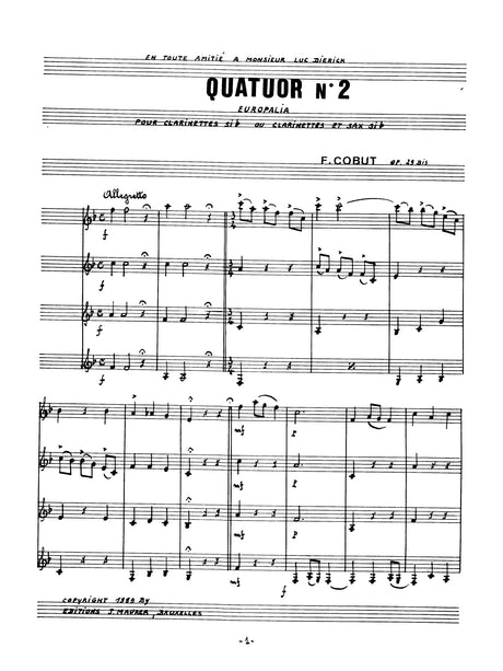 Cobut - Quatuor No. 2 for Clarinet Quartet - CQ1394EJM
