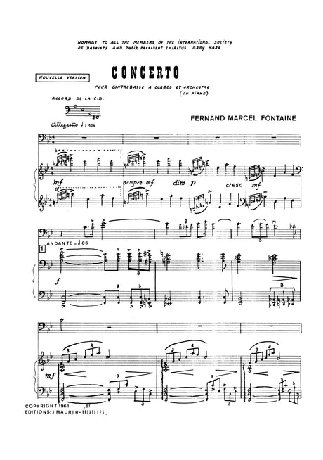 Fontaine - Concerto for Contrabass and Piano - DBP0441EJM