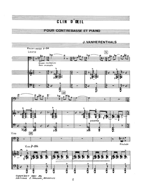 Vanherenthals - Clin D'oeil for Contrabass and Piano - DBP1443EJM