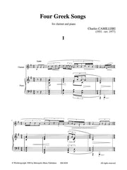 Camilleri - Four Greek Songs (Clarinet and Piano) - CP6038EM