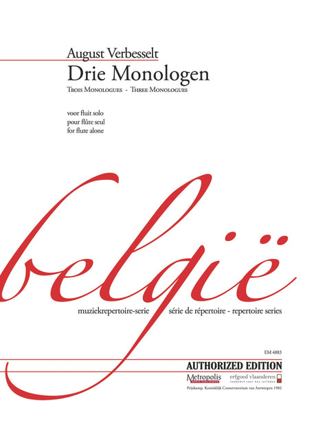 Verbesselt - Drie Monologen for Flute Alone - F4883EM