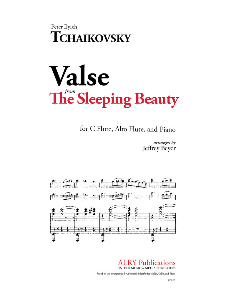 Tchaikovsky - Valse from The Sleeping Beauty for C Flute, Alto Flute, and Piano - FDP27