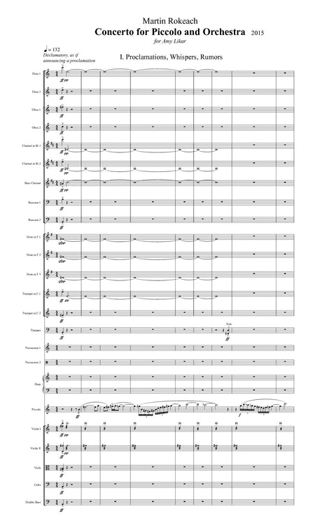 Rokeach - Concerto for Piccolo and Orchestra (Full Score ONLY) - FS27S