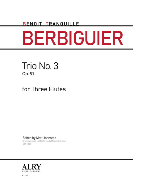 Berbiguier (ed. Johnston) - Trio No. 3, Op. 51 - FT53