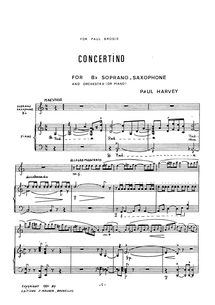 Harvey - Concertino for Soprano Saxophone and Piano - SP0898EJM