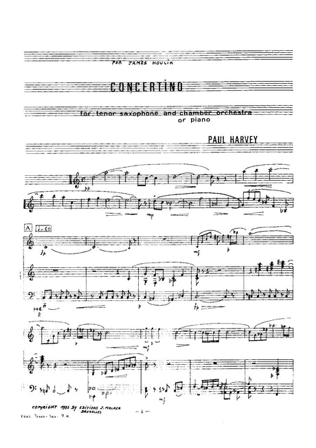 Harvey - Concertino for Tenor Saxophone and Piano - SP0947EJM
