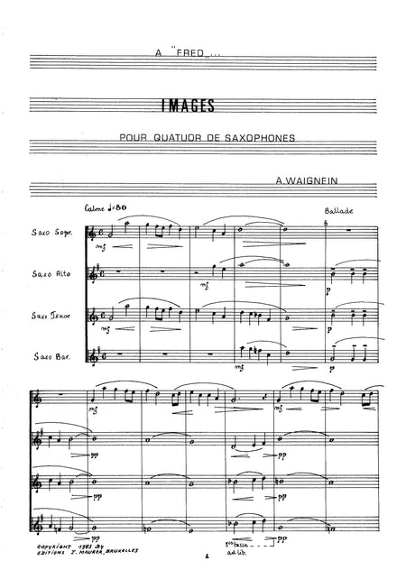 Waignein - Images for Saxophone Quartet - SQ1190EJM
