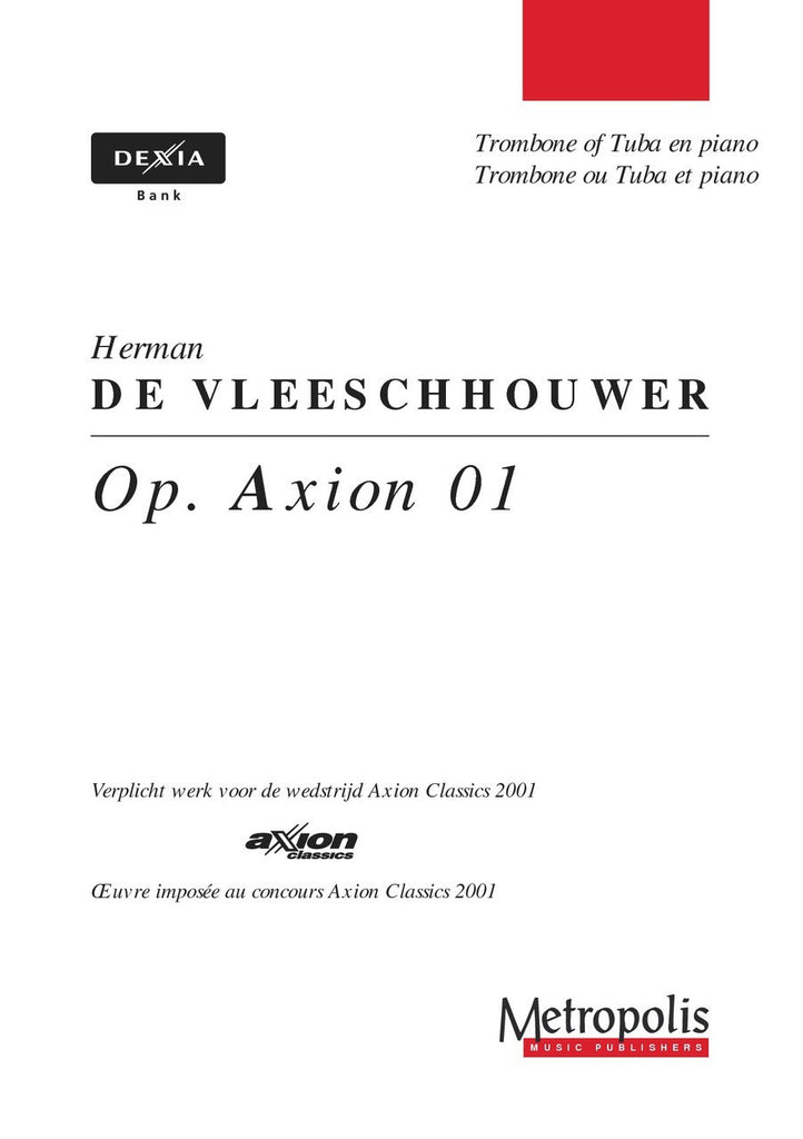 De Vleeschhouwer - Op.Axion 01 (Trombone and Piano) - TRP6078EM