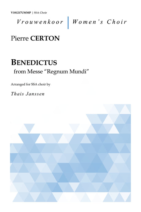 "Certon - Benedictus from Messe ""Regnum Mundi"" for SSA Choir - V181217UMMP"