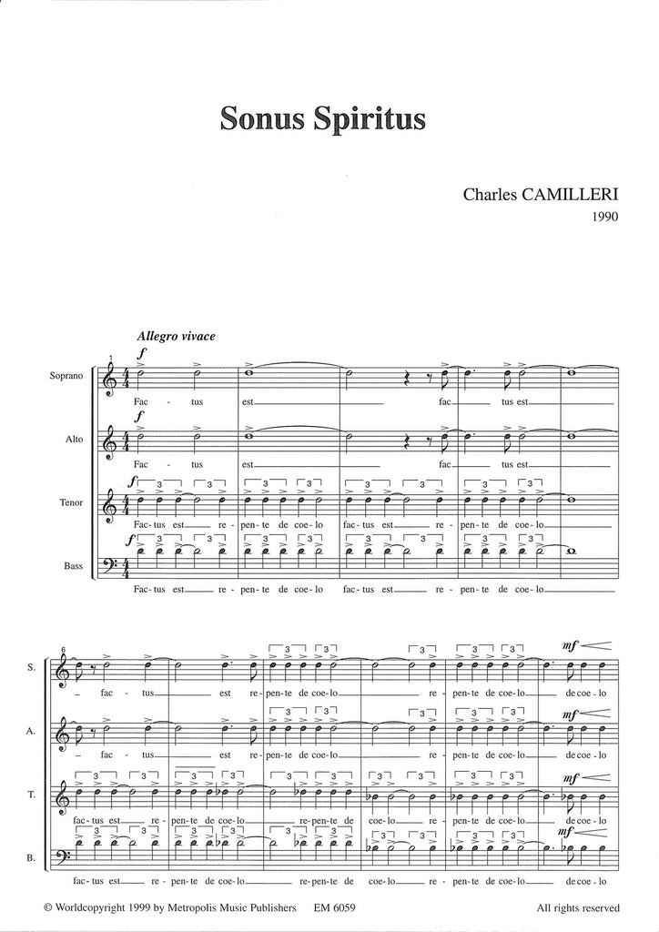 Camilleri - Sonus Spiritus for SATB Choir - V6059EM